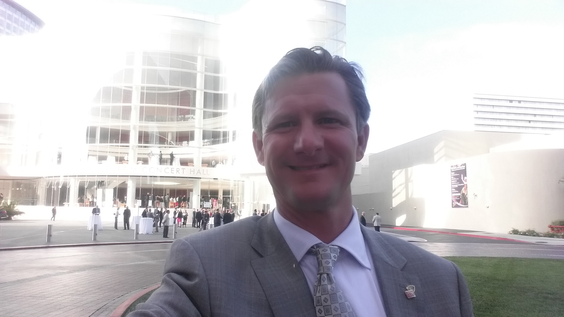 Randy T. Mason in front of the Renee and Henry Segerstrom Concert Hall